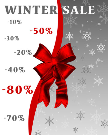 Winter sale banner with snowflakes, elegant red bow and ribbon Stock Photo