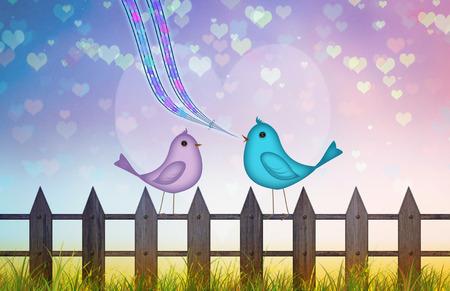 Fondo de San Valentín con corazones y una escena romántica de un par de aves de dibujos animados en el amor, cantando la canción de amor para el día de San Valentín. el amor está en el concepto de aire. canciones de amor y pareja romántica, socios, para San Valentín Foto de archivo