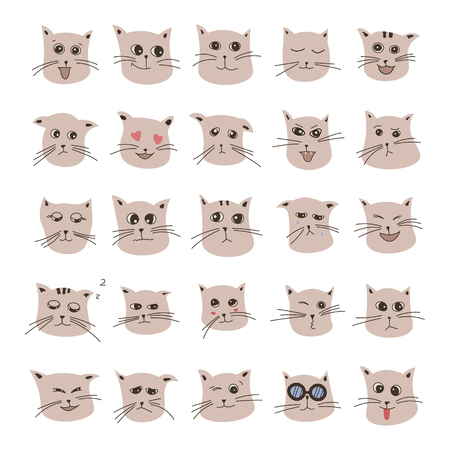emote: emotions of gray cute cartoon cat in vector Illustration