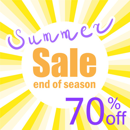 super market: vector yellow poster for last summer sale, end of season, discounts Illustration