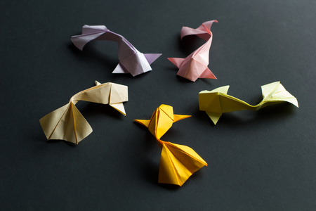 Oval frame figure of handmade paper craft origami gold koi carp fishes on black background. Side view Stock Photo