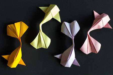 Handmade paper craft origami gold koi carp fishes on black background.Top view, pattern