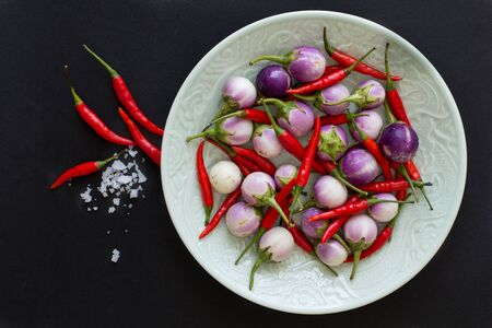 Purple Thai eggplants and hot chili peppers on a green plate and nearby with salt crystals on a black background. Asian food. 스톡 콘텐츠