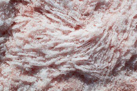 Natural pink salt crystal texture, macro, close up, lamellar structure. Salty lake shore background, Spain, Torrevieja. 스톡 콘텐츠