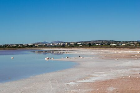 Salty lake landscape in shiny day, Spain, Torrevieja 스톡 콘텐츠