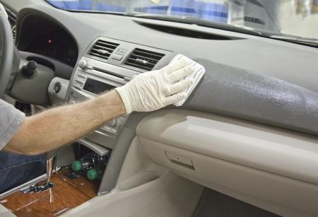 Schoon en glans auto lederen dashboard