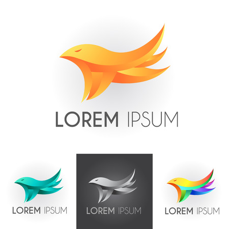 abstract birds: Sign of company with gradient bird Illustration