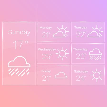 widget: Transparent mobile interface of weather widget Illustration