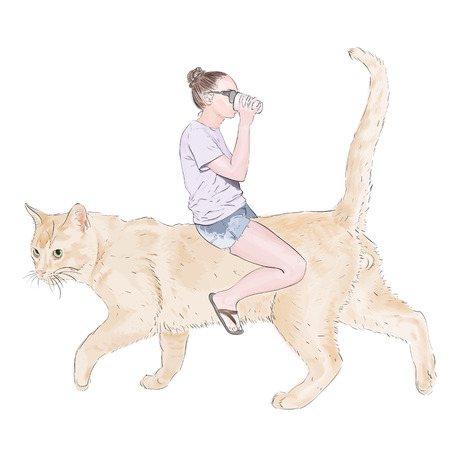 big cat: Realistic girl drinks in glasses sitting on a red big cat