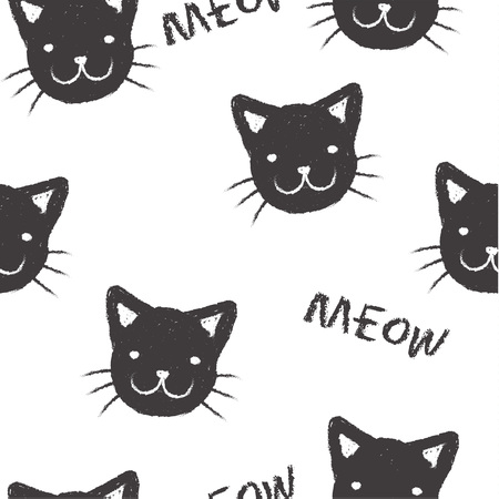 meow: Seamless pattern with  muzzles kitten and the inscription Meow Illustration