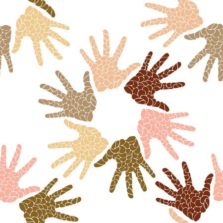 manos unidas: sin patrón de manos de diferentes colores de piel humana en un círculo