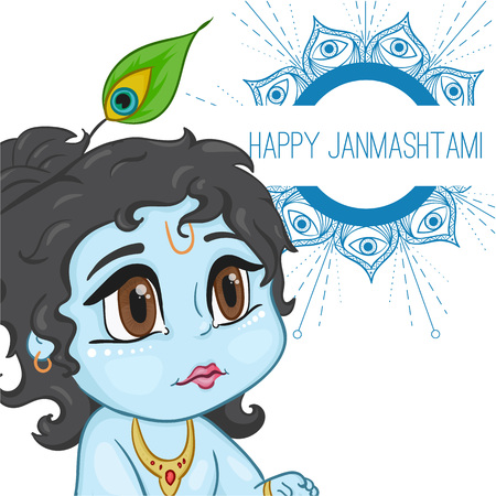 brown eyes: Hand drawn little baby god Krishna in anime style. With a pot of porridge with mandala words happy janmashtami. Cute baby blue with black hair and brown eyes from India.