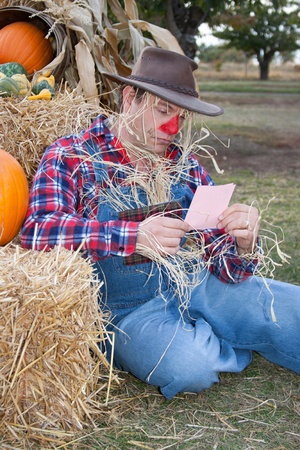 Depressed scarecrow gets a pink slip. photo