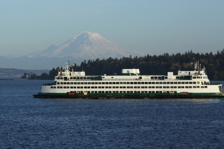 The Puget Sound Ferry against Mt  Rainier in this major tourist destination