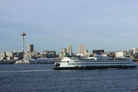 tourist destination: Seattle Washington, a view of the Space needle and the ferry in this major tourist destination  Stock Photo