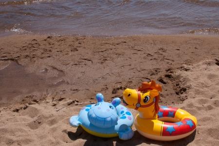 kid s toys on the beach Stock Photo