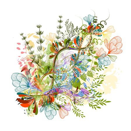 Flower abstraction. Multi-colored abstraction of flowers and twigs. Vector illustration Stock Illustratie