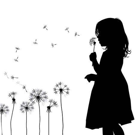 The profile of the silhouette of the girl blows dandelion. Vector illustration Çizim