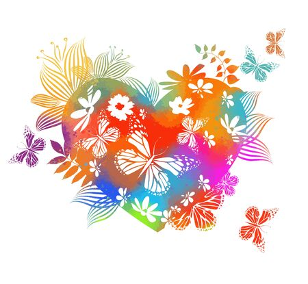The multi-colored heart with flowers and twigs is abstract. Happy Valentines Day. Vector Stock Illustratie