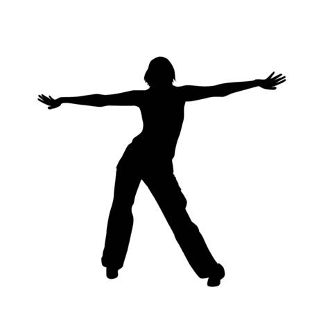 The silhouette of a girl doing the charging. Vector