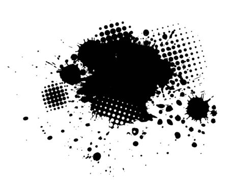 Black spots of paint on a white background. Grunge frame of paint. Vector Banque d'images - 134847368