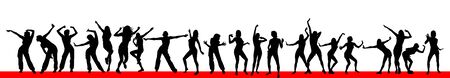 Silhouettes of dancing girls. Vector