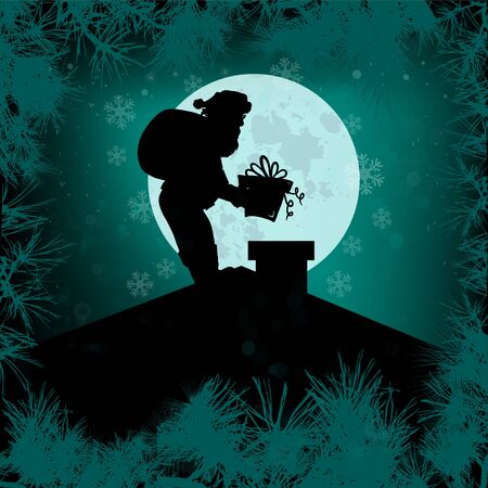Santa Claus on the roof with a gift. Merry Christmas. Greeting card. Vector