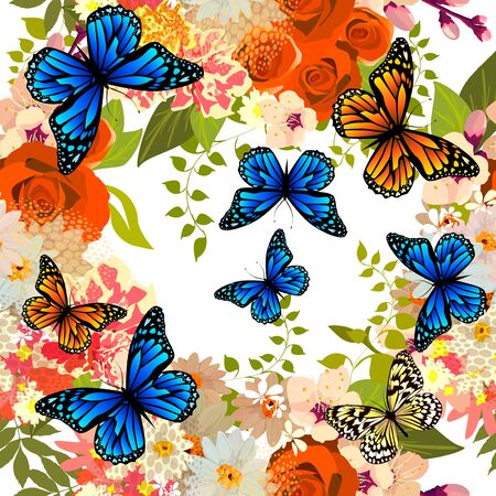 A seamless background with different flowers and butterflies. Vector Stock Illustratie