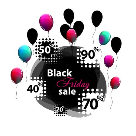 Sale. Black Friday. frame with balloons. Holiday discounts. Vector illustration