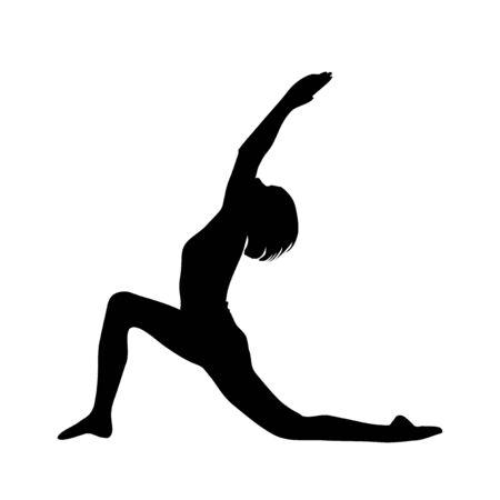 Yoga silhouette. Vector illustration. Figures of girls Ilustração Vetorial