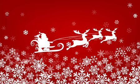 red background with snowflakes. Santa Claus is flying in a sleigh across the sky on deer. Vector illustration Illusztráció