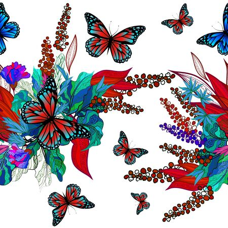 Flower abstraction with butterflies. Seamless floral abstract background. Vector illustration