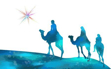 Chameaux étoiles de Noël avec les mages. Illustration vectorielle