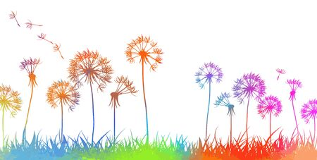 Colorful dandelions. Abstraction of a meadow with rainbow flowers. Vector