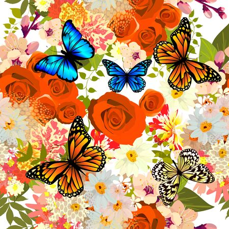 A seamless background with different flowers and butterflies. Vector illustration
