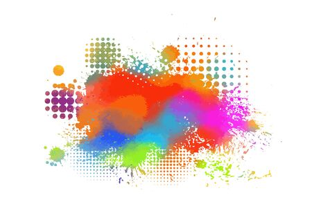 Multi-colored spots of paint on a white background. Grunge frame of paint. Vector illustration. Banque d'images - 134847502