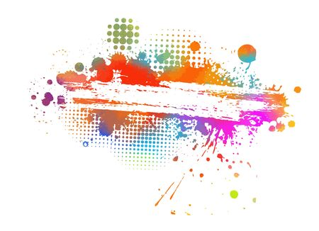 Multi-colored spots of paint on a white background. Grunge frame of paint. Vector illustration. Banque d'images - 134847509