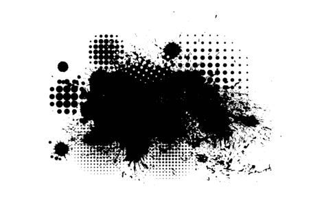 Black spots of paint on a white background. Grunge frame of paint. Vector illustration. Banque d'images - 134847507