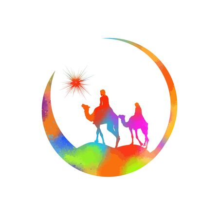 Christmas star camels with the Magi. Vector illustration Banco de Imagens - 134847511