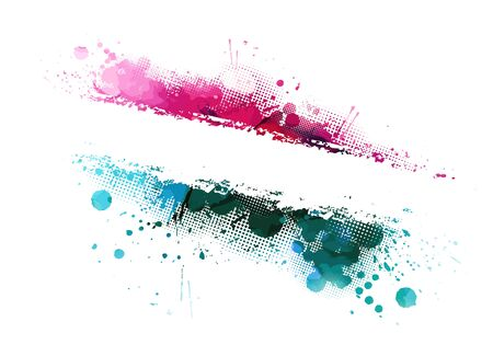 Multi-colored spots of paint on a white background. Grunge frame of paint. Vector Banque d'images - 134847570