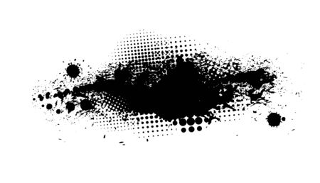 Black spots of paint on a white background. Grunge frame of paint. Vector illustration. Banque d'images - 134847580