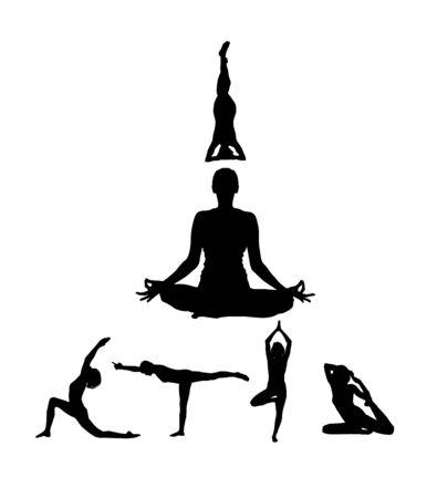 Yoga silhouette. Vector . Figures of girls