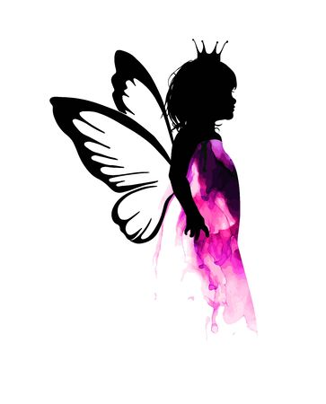 The silhouette of a fairy princess girl. Vector illustration Stock Illustratie