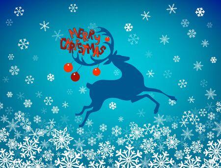Holiday greetings. Christmas deer silhouette. Vector illustration