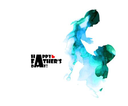 Colorful silhouette of dad and son. Happy fathers day. Vector illustration Ilustrace