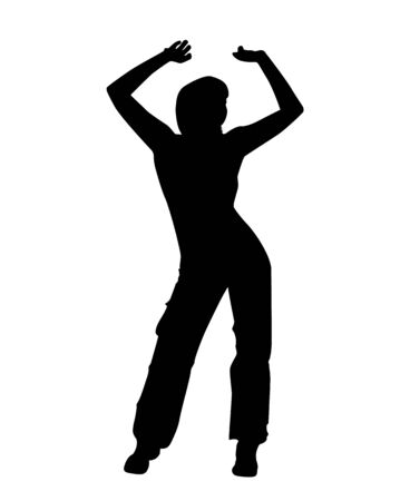 The silhouette of a girl doing the charging. Vector illustration