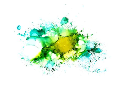 Taches de peinture multicolores sur fond blanc. Cadre grunge de peinture. Vecteur