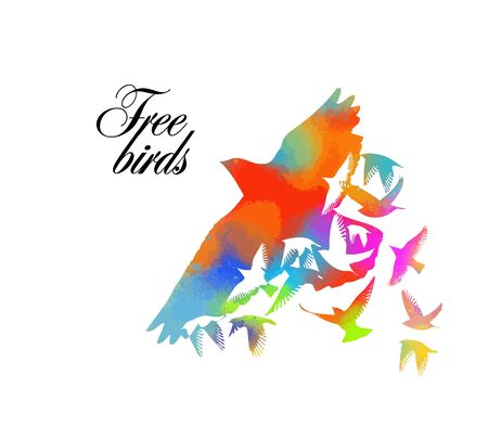 Multi-colored birds. A flock of flying rainbow birds. Vector illustration