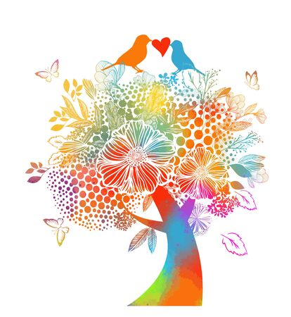 Abstract flower tree with butterflies. Vector illustration