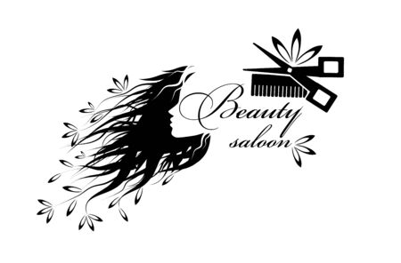 Beautiful monochrome girl's profile silhouette with flowers from her hair isolated - vector illustration Ilustracje wektorowe